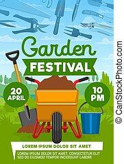 vetorial, cartaz, de, jardim, e, equipamento cultivando