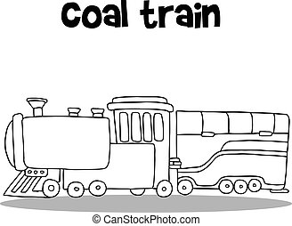 vetorial, carvão, desenhar, trem, mão