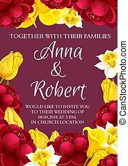 vetorial, casório, flores, convite, cartão