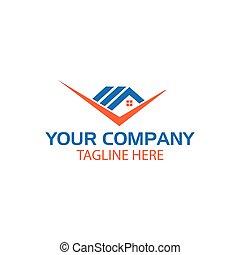 vetorial, casa, cheque, mark., logotipo, modelo, desenho