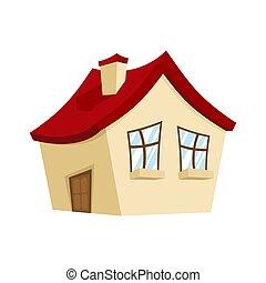 vetorial, casa, isolated., estilo, ícone, caricatura, lar