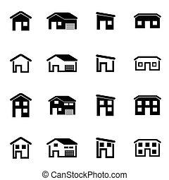 vetorial, casa, jogo, pretas, ícone