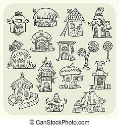 vetorial, casas, esboço, jogo, caricatura