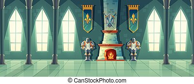 vetorial, castelo, corredor, interior, de, real, salão baile