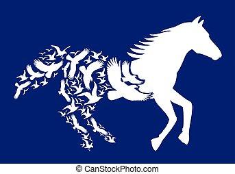 vetorial, cavalo, voando, pássaros, branca