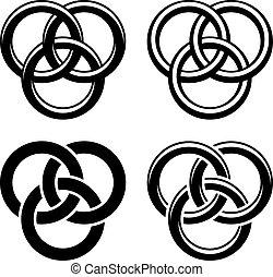 vetorial, celta, nó, pretas, branca, símbolos