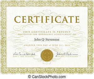 vetorial, certificado, com, ornamentos