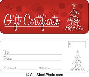 vetorial, certificado presente, natal