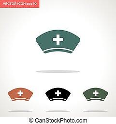 vetorial, chapéu, branca, ícone, enfermeira, isolado, fundo