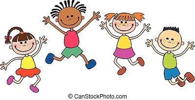 vetorial, character., criança, engraçado, interest., isolado, caricatura, wight, crianças, apontar, olhe para cima, ilustração