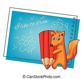 vetorial, character., raposa, caricatura, cartão