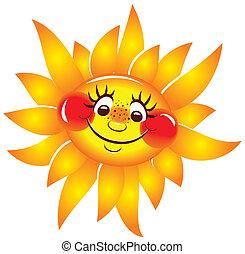 vetorial, character., sol, alegre, sorrir.
