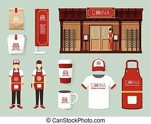 vetorial, china, modernos, restaurante, café, jogo, parte dianteira loja, desenho, voador, menu, pacote, t-shirt, boné, uniforme, e, exposição, design/, esquema, jogo, de, identidade incorporada, escarneça, cima, template.