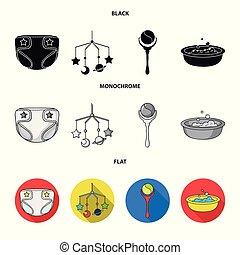 vetorial, chocalho, estilo, jogo, apartamento, ícones, sobre, pretas, web., crianças, cobrança, símbolo, nascido, brinquedo, ilustração, berço, bebê, monocromático, fraldas, bath., estoque