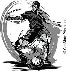 vetorial, chutando, bola futebol, jogador