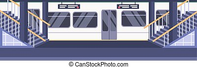 vetorial, cidade, conceito, nenhuma pessoas, vazio, ilustração, plataforma, trem, apartamento, metrô, subterrâneo, estação, estrada ferro, horizontais, transporte