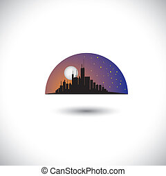 vetorial, cidade, conceito, silueta, arranha-céus, representa, lua, abstratos, modernos, céu, centro cidade, este, skyline, gráfico, experiência., estrelas, noturna