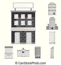 vetorial, cidade, construção, icon., isolado, jogo, objeto, centro, estoque, illustration.