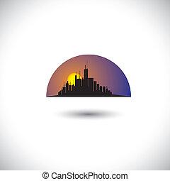 vetorial, cidade, gráfico, conceito, silueta, arranha-céus, &, este, abstratos, modernos, céu, centro cidade, experiência., skyline, manhãs, representa, noites, sun-setting