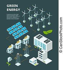 vetorial, cidade, isometric, industrial, poder elétrico, energia, powerhouse, conceito, grade, verde, station., elétrico, distribuição, 3d