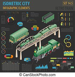 vetorial, cidade, isometric, próprio, vapor, elements., mapa, collection., ilustração, locomotiva, infographic, retro, construtor, carriages., estrada ferro, 3d, seu, construir