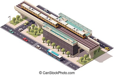 vetorial, cidade, isometric, treine estação