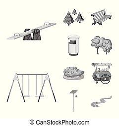 vetorial, cidade, jogo, illustration., parque, rua, desenho, icon., estoque