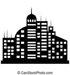 vetorial, cidade, jogo, pretas, ícones