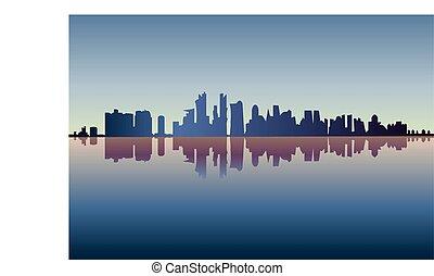 vetorial, cidade, -, silueta, chicago