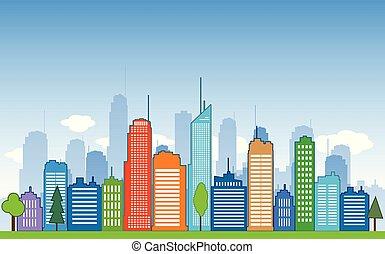 vetorial, cidades, azul, buidling, desenho, pacata, vizinhança