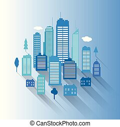 vetorial, cidades, azul, buidling, desenho