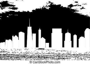 vetorial, cidades, silueta, ilustração