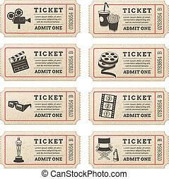 vetorial, cinema, bilhetes