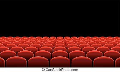 vetorial, cinema, ou, teatro, filas, de, vermelho, assentos