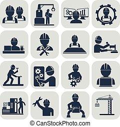 vetorial, cinzento, engenharia, jogo, ícones