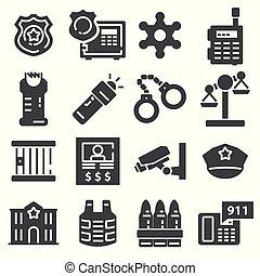 vetorial, cinzento, jogo, polícia, ícones