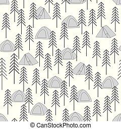 vetorial, cinzento, repetir, acampamento, barracas, padrão, seamless, madeiras