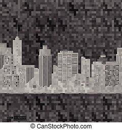 vetorial, city., modernos