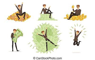 vetorial, clássicas, homens, dinheiro., illustration.,...
