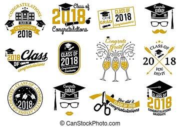 vetorial, classe, de, 2018, badge.