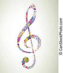 vetorial, clef, coloridos