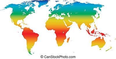 vetorial, clima, mapa mundial