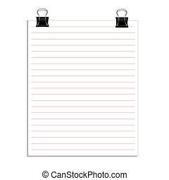 vetorial, clipe para papel, papeis, nota