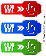 vetorial, clique, botão