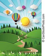 vetorial, clo, ilustração, luz solar