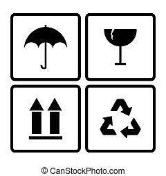 vetorial, close-up, pretas, frágil, símbolo, labell