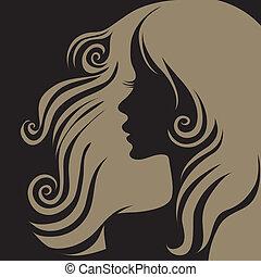 vetorial, closeup, retrato, de, mulher