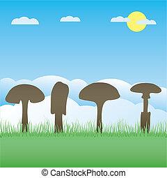 vetorial, cobrança, cogumelo