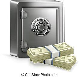 vetorial, cofre, dinheiro