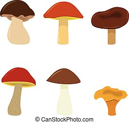 vetorial, cogumelos, set., isolado, branco, fundo, caricatura, mushrooms.